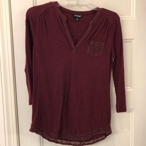Women's Lucky Brand Boho Knit Trim Top Size Small